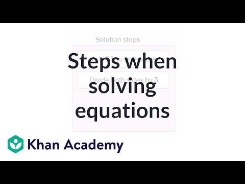 Describing steps when solving equations   Algebra (video