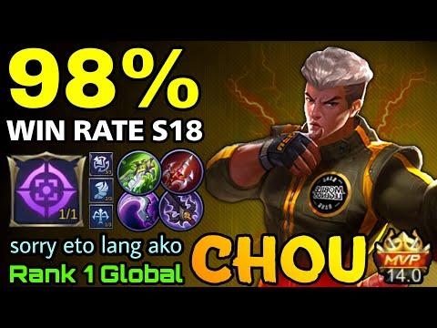 , title : '98% Win Rate S18 Chou Perfect Plays MVP 14 Points - Top 1 Global Chou by sorry eto lang ako - MLBB