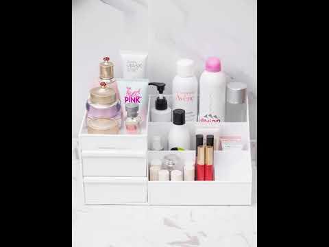 Органайзер/подставка для косметики настольный с выдвижными ящиками Cosmetics Organizer розовый (СО-28997) Video #1