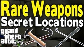 GTA 5 - ALL SECRET & RARE MELEE WEAPON LOCATIONS (Bat, Golf Club, Hammer, & Crowbar) [GTA V]