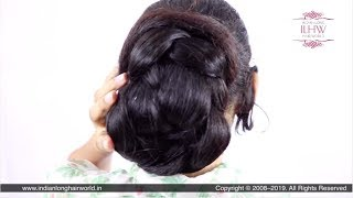 Purnika's South Indian Style Huge Braided Bun Making By Male Hair Dresser & Flaunting