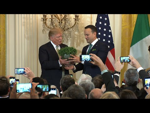 President Donald Trump received a Shamrock Bowl as part of day long festivities with Ireland's Prime Minister Leo Varadkar to celebrate an early St. Patrick's Day. (March 14)