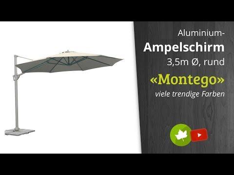 Siena Garden Montego Ampelschirm 350cm Ø Aluminium-Mast - leicht zu öffnen und schließen