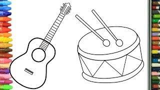 Рисуем гитару и барабан