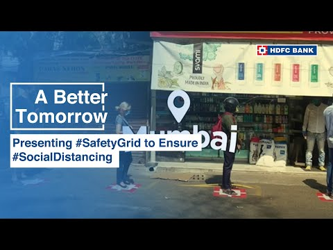 HDFC Bank ensure social distancing with its logo on ground