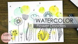 Easy Watercolor Paintings For Beginners And Flower Doodles   Cute Easy Drawings