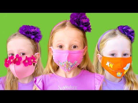 Настя шьёт красивые маски для друзей