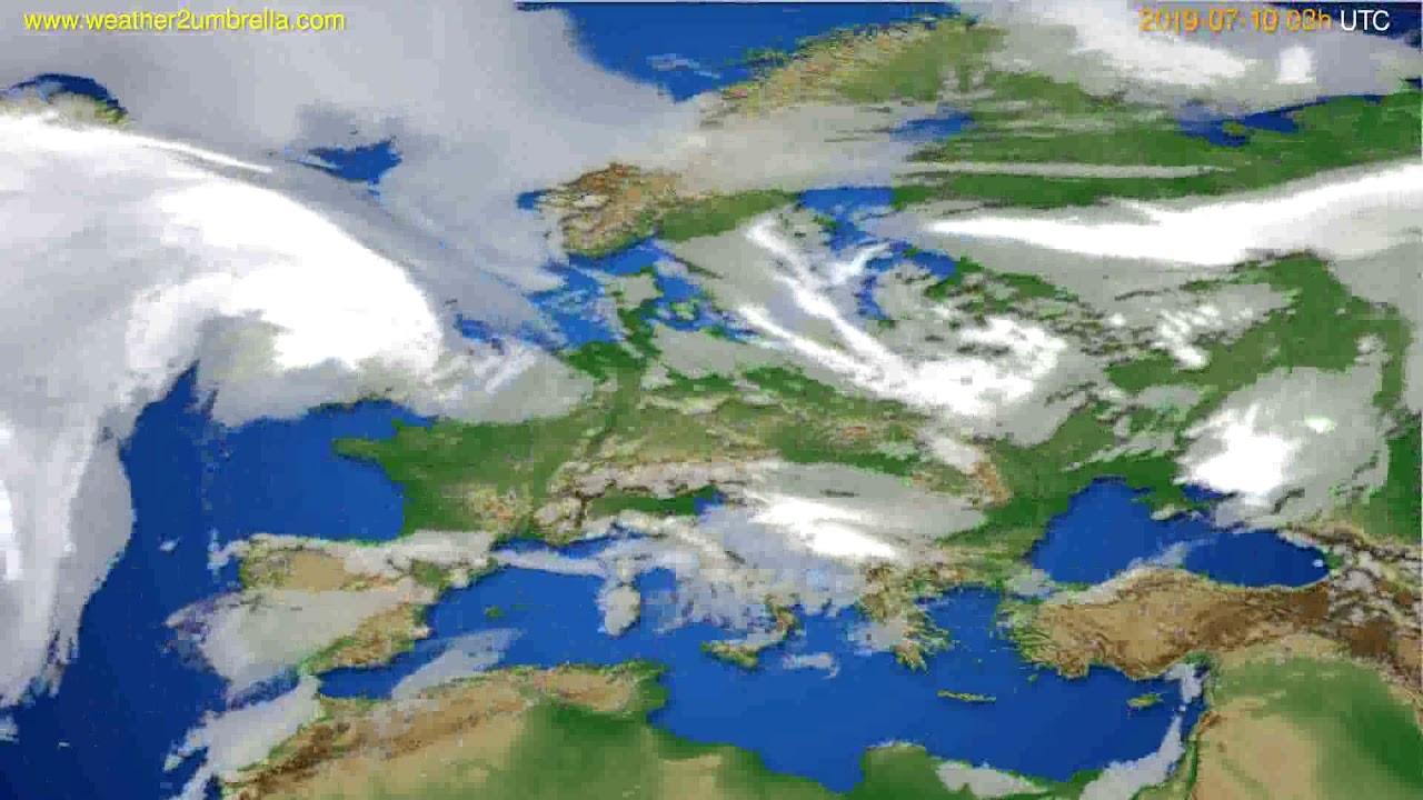 Cloud forecast Europe // modelrun: 00h UTC 2019-07-07