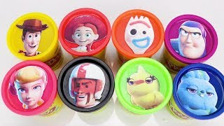 Learn Colors with Toy Story 4 Play doh Surprises with Forky, Woody, Bo Peep