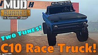 SpinTires Mud Runner: NEW Chevy C-10 Pre Runner RACE TRUCK! w/ Stock and Track Tunes