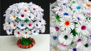 DIY-Paper Flowers Guldasta Made With Empty Plastic Bottles|Paper Ka Guldasta Banane Ka Tarika