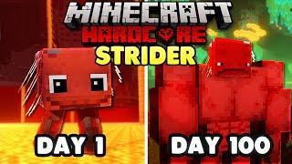 I Survived 100 days As A STRIDER in Hardcore Minecraft...