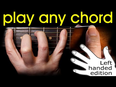 Play any guitar chord - how to hold a LEFT HANDED guitar lesson