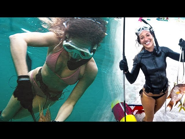 Nicole NEW Spearfishing & Freediving Florida/ Hunting the Reefs, Lobster Grabs, Snappers, Sharks!