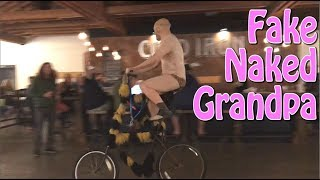 Fake Naked Grandpa Prank - Rides Tall Bike into the Bars of Small Towns - MorphSuit