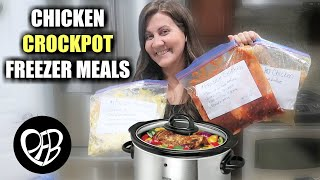 3 Easy Chicken Crockpot Freezer Meals | Delicious Chicken Freezer Meal Prep Recipes For The Crockpot