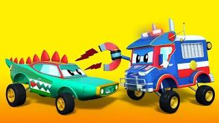 Super Truck -  POLICE TRUCK follows CROCODILE thief - Car City - Truck Cartoons for kids