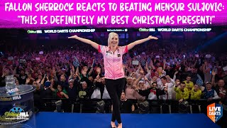 "Fallon Sherrock reacts to beating Mensur Suljovic: ""This is definitely my best Christmas present!"""