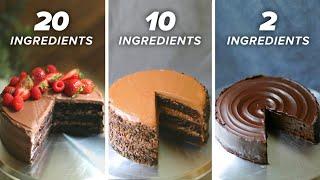 20-Ingredient vs. 10-Ingredient vs. 2-Ingredient Chocolate Cake • Tasty
