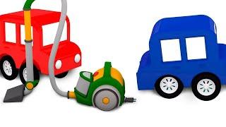 Die 4 kleinen Autos bauen einen Staubsauger - Lehrreicher Cartoon auf Deutsch