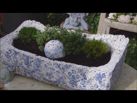 Pflanzgefäß aus Leichtbeton mit tollem Vintage Muster ganz einfach selbst gemacht