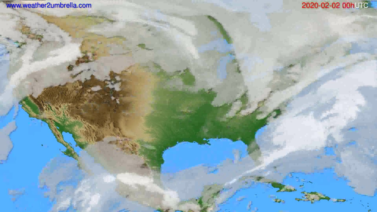 Cloud forecast USA & Canada // modelrun: 00h UTC 2020-02-01