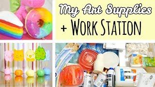 All My Art Supplies + Work Station Tour | Art, Crafts, Squishies