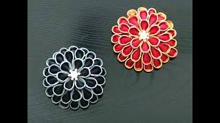 【100均材料 つまみ細工】kanzashi Flower  Fabric Flower DIY 髪飾り作り方