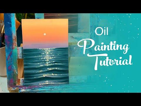 Oil Painting Tutorial - Ocean Sunset (Beginner)