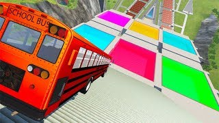 BeamNG drive - Stairs Jumps Down Into Colored Swimming Pools Cars Crashes