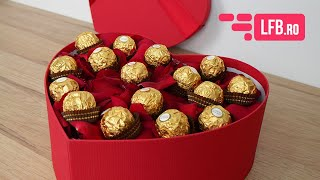 Video Cutie GOLD cu petale de trandafir si Ferrero Rocher
