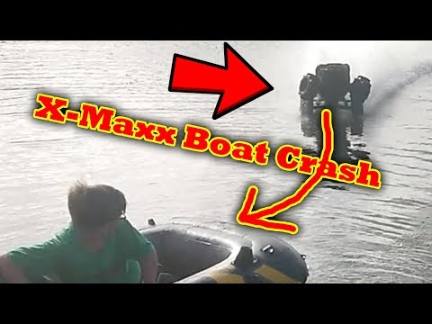 FAIL Traxxas X-Maxx Crosses A Lake RC Car Water Skipping Hydroplane