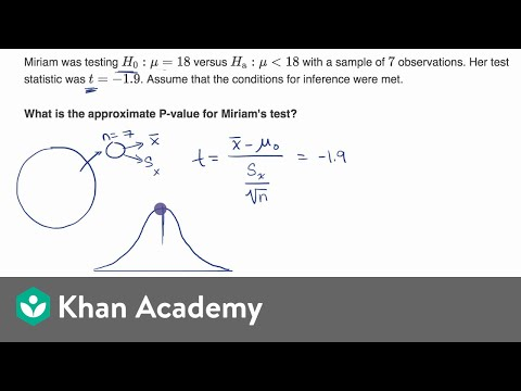 Using TI calculator for P-value from t statistic (video) | Khan Academy