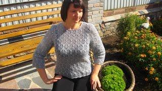 Серый ажурный пуловер крючком