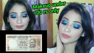100 Rs MAKEUP CHALLENGE    Full Face Makeup    Peacock Smokey Eyes    Shy Styles