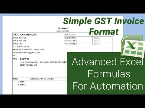 Simple GST Invoice format   With advanced Excel Formulas for automation – Microsoft Excel Tutorial