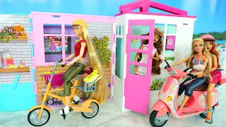 New Barbie House / Pink Scooter & Yellow Bike for Doll Patinete Sepeda Fahrrad Bicyclette بيت الدمية