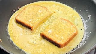 Fast & Easy Breakfast | How To Make One Pan Egg Sandwich | French Toast Omelette Sandwich