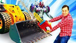 Бамблби vs. Мегатрон - Трансформеры строят башни - Видео для мальчиков.