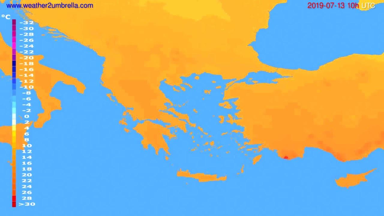 Temperature forecast Greece // modelrun: 00h UTC 2019-07-11