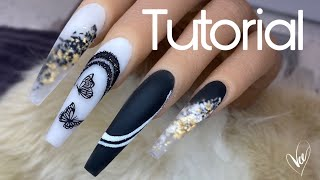 Beginner Black And White Nail Tutorial | How To: Butterfly Monochromatic Nail Design