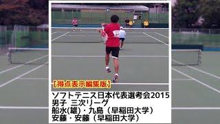 [得点表示編集版]ソフトテニス 日本代表選考会2015 三次リーグ 船水(雄)九島ー安藤安藤
