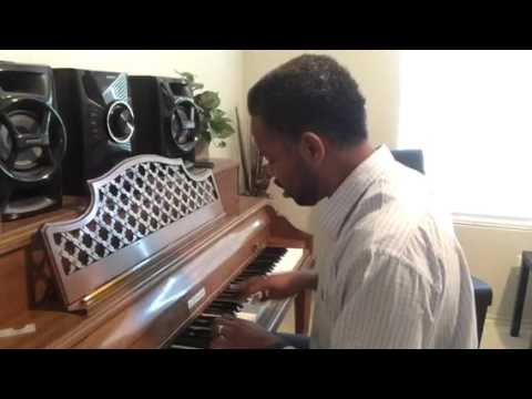 Playing a jazz blues on piano.