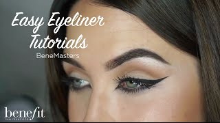 Our Amelia Forster from Boots Chichester, shows you three easy eyeliner tutorials, using they're real! push up liner.  1/ Simple eyeliner tutorial 2/ Winged eyeliner tutorial 3/ Smoked winged eyeliner tutorial  Follow Amelia on IG: @ameliaforstermua  Shop the products:  they're real! push up liner: http://bit.ly/2aAenWH shy beam: http://bit.ly/1RouPMg  Subscribe to our YouTube channel for more videos! https://www.youtube.com/benefitukroi