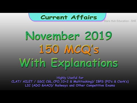 November Current Affairs-150 Mcqs-Part 1(Detailed Explanations)