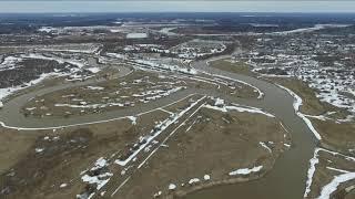 Река Коса, ремонт автомобильного моста, часть п.Косино 03.04.2020 (DJI Phantom 3 Advanced)