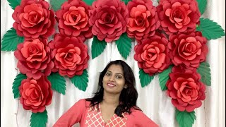 Paper Rose Flower Backdrop For Wedding Anniversary At Home | Wedding Anniversary Decoration Ideas