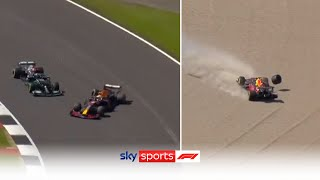 RED FLAG! 🚩Verstappen OUT of British Grand Prix after collision with Hamilton!