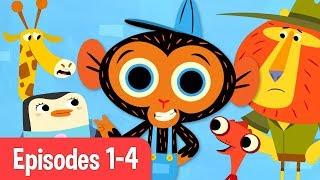 Mr Monkey, Monkey Mechanic | Giraffe, Chameleon, Penguin, and Lion! | Cartoons For Kids
