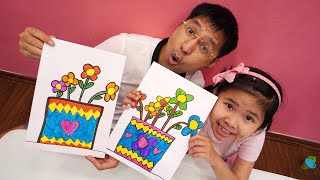 Bé Bún Hướng Dẫn Bố Vẽ Chậu Hoa - Drawing flower